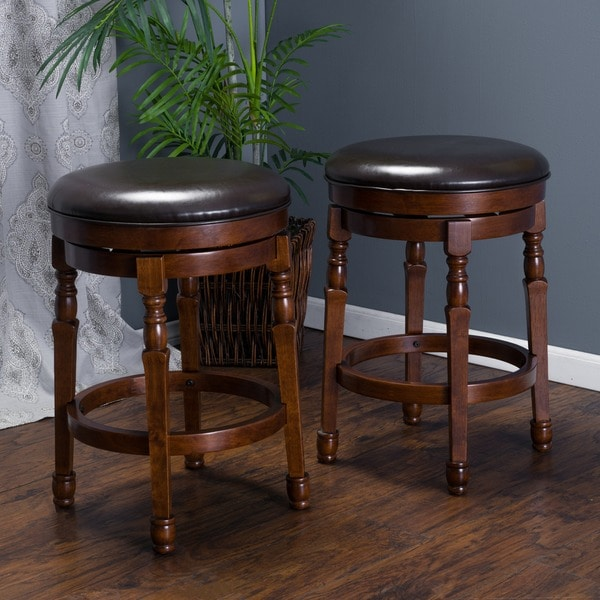 Shop Paxx Bonded 26 Inch Leather Swivel Counter Stool Set