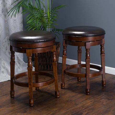 Paxx Bonded 26-inch Leather Swivel Counter Stool (Set of 2) by Christopher Knight Home