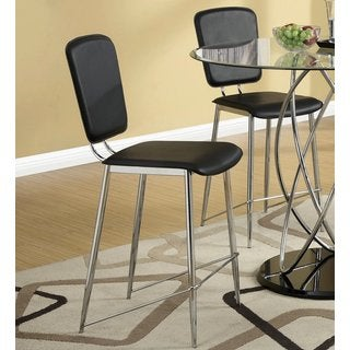 Silvertorre Chrome Modern Design Black Counter Height Stools (Set of 2)