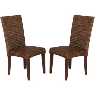 Montgomery Rattan Woven Dark Brown Dining Chairs (Set of 2)
