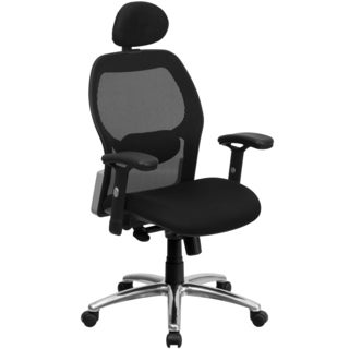 Darham Black Mesh Executive Swivel Adjustable Office Chair with Headrest and Chrome Base