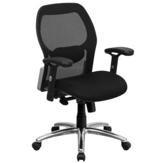 Darham Black Executive Swivel Office Chair with Mesh Padded Seat and Chrome Base