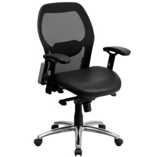 Darham Black Mesh Executive Swivel Office Chair with Leather Padded Seat and Chrome Base