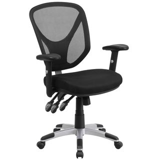 Carbin Black Mesh Swivel Adjustable Office Chair With Triple Paddle Control and Height Adjustable Arms