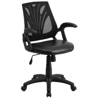 Kai Black Mesh Swivel Adjustable Office Chair with Leather Padded Seat