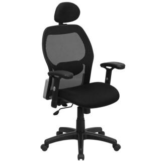 Aven Black Executive Adjustable Swivel Office Chair with Mesh Padded Seat and Headrest