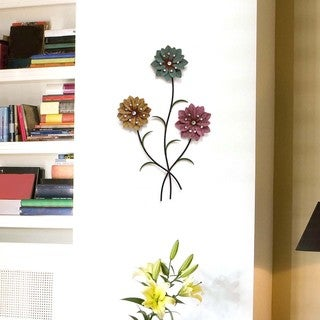 Stratton Home Decor Whimsical 3-stem Flowers Wall Decor