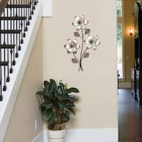 """Stratton Home Decor Eclectic 3-stem Floral Wall Decor - 18.5""""w x 1.3""""d x 30""""h"""