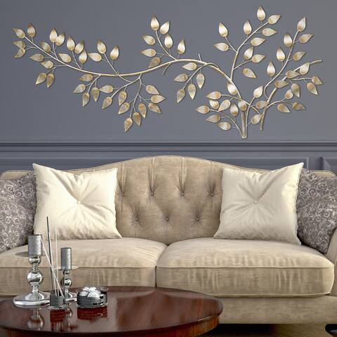 Silver Orchid Laurel Brushed Gold Flowing Leaves Wall Decor
