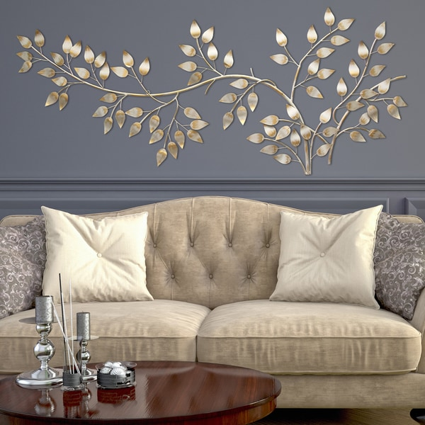 Stratton Home Decor Brushed Gold Flowing Leaves Wall Decor - Free