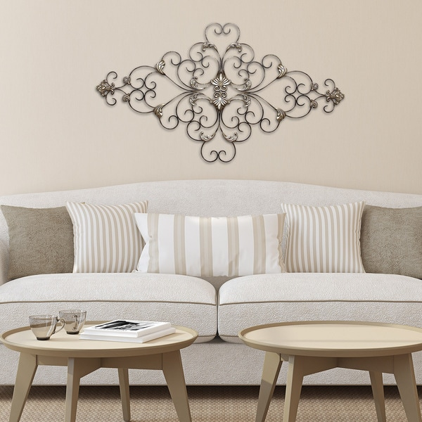 Stratton Home Decor Patina Scroll Leaf Metal Wall Art ~ Stratton home decor ornate scroll wall free