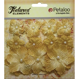 Textured Elements Burlap Mini Flowers .75in To 1.5in 11/Pkg Antique Gold