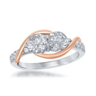 La Preciosa Sterling Silver and Roseplated 2-stone Cubic Zirconia Engagement Ring