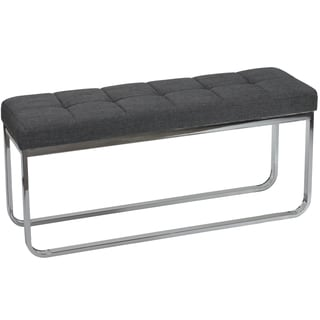 Cortesi Home Grey Linen Fabric and Chrome Nola Contemporary Narrow Bench