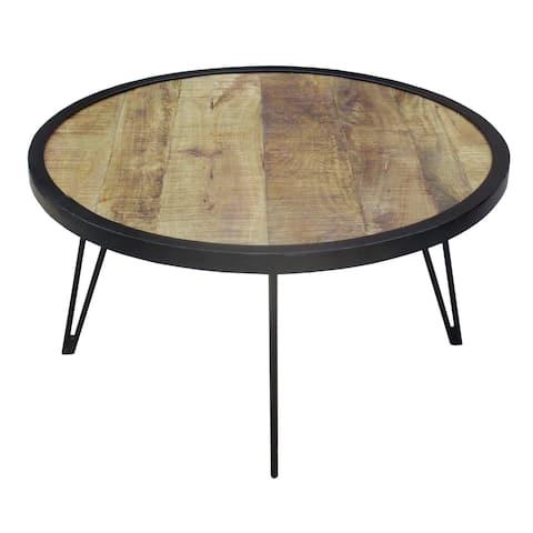 Handmade Reclaimed Wood Round Coffee Table (India)