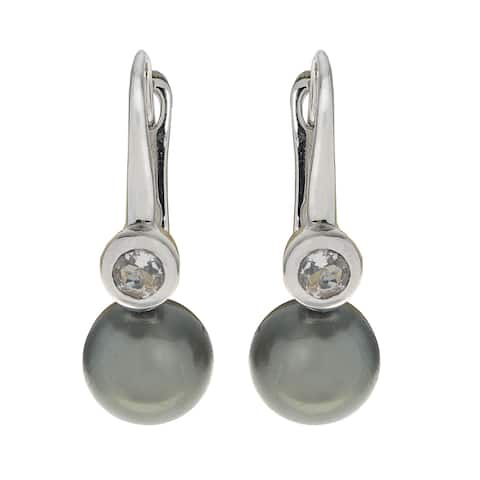 Pearls For You Sterling Silver Tahitian Pearl and Green Amethyst Earrings (9-10 mm)