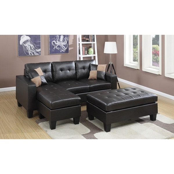Espresso Bonded Leather Piacenza Sectional Sofa With