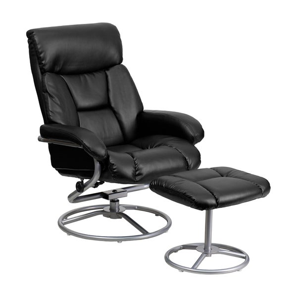 Shop Offex Contemporary Black Bonded Leather Recliner And