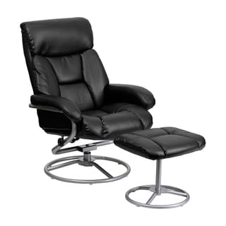 Offex Contemporary Black Bonded Leather Recliner and Ottoman with Metal Base