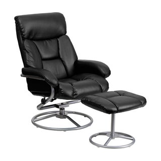Genial Offex Contemporary Black Bonded Leather Recliner And Ottoman With Metal Base