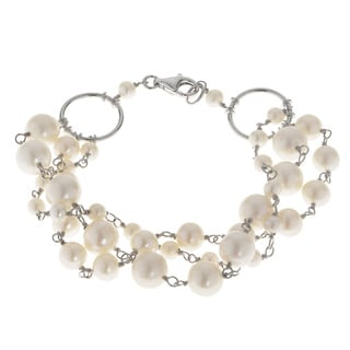 Pearls For You Sterling Silver 3-star White Freshwater Pearl Bracelet (4-8 mm)