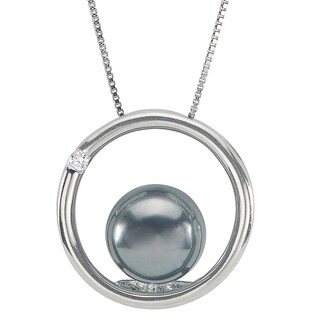 Pearls For You 14k White Gold Tahitian Pearl and Diamond Circle Pendant (8-9 mm) (H-I, I2-I3)