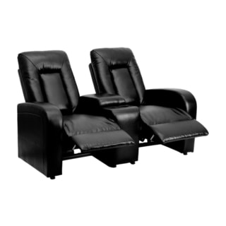 Offex Eclipse Series 2-seat Reclining Black Leather Theater Seating Unit with Cup Holders
