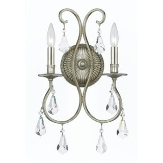 Crystorama Ashton Collection 2-light Olde Silver Wall Sconce