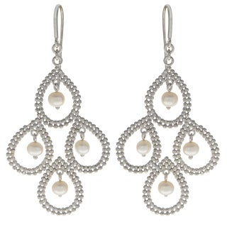 Pearls For You Sterling Silver White Freshwater Pearl 'Lace' Dangle Earrings (3.5-4 mm)