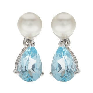 Pearls For You 14k White Gold White Freshwater Pearl and Blue Topaz Drop Earrings (6-6.5 mm)