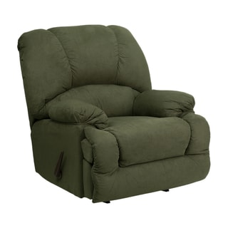 Offex Contemporary Glacier Olive Microfiber Chaise Rocker Recliner