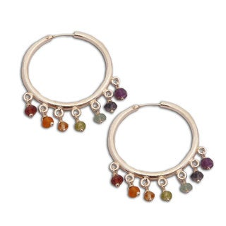 Handmade 7 Chakra Hoops Sterling Silver with Gemstones (India)
