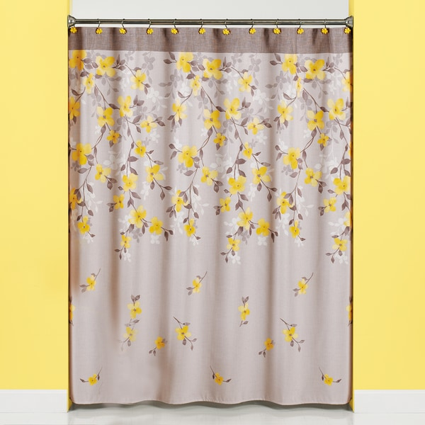 Spring Garden Floral Patterned Fabric Shower Curtain and 12-piece Hooks Set or Separates