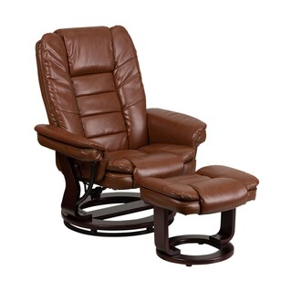 Offex Contemporary Vintage Brown Leather Recliner and Ottoman with Swiveling Mahogany Wood Base