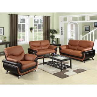 Pisa Sofa Set Chestnut and Black