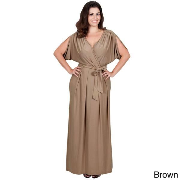 Shop Koh Koh Women\'s Plus Size Batwing Tie Around Maxi Dress - Free ...