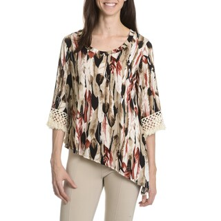 Sunny Taylor Women's Petite Asymmetrical Printed Top