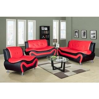 Veneto Sofa Set Black and Red