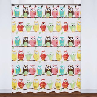Colorful Owls PEVA Shower Curtain and 12-piece Hooks Set or Separates