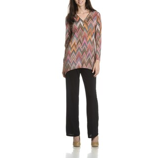 Sunny Leigh Women's Printed Tunic and Solid Pant 2-Piece Set