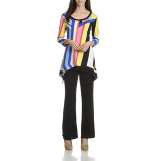 Sunny Leigh Women's Multicolor Stripe Solid Pant Tunic 2-Piece Set