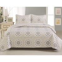 Home Fashion Designs Abigail Collection Printed 3-Piece Quilt Set