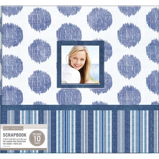 K&Company Patterned Post Bound Window Album 12inX12in Vintage Blue Collage