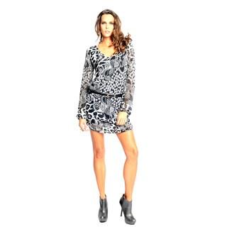 Sara Boo Women's Black and White Tunic Dress