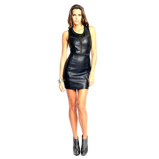 Sara Boo Women's Black Edgy Faux Leather Dress