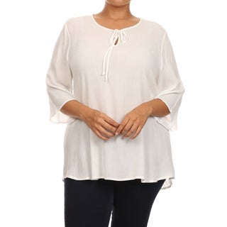 MOA Collection Plus Size Solid Top with Drawstring