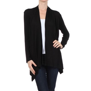 MOA Collection Women's Solid Open Front Cardigan