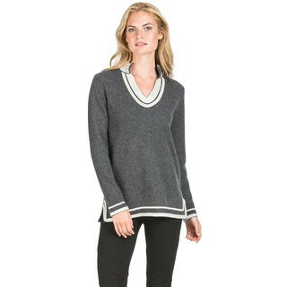 Ply Cashmere Women's Two-tone Border Stripe Cashmere Sweater
