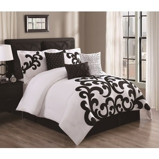 Empress Black and White Cotton 9-piece Comforter Set