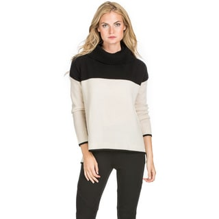 Ply Cashmere Women's Colorblock Cowl Neck Cashmere Sweater